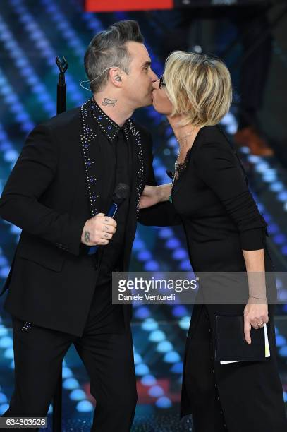 Robbie Williams and Maria De Filippi attend 67 Sanremo Festival at Teatro Ariston on February 8 2017 in Sanremo Italy