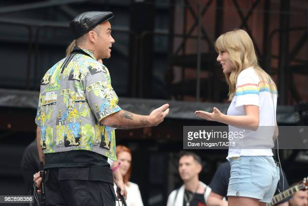 Robbie Williams and Taylor Swift during rehearsals ahead of the reputation Stadium Tour at Wembley Stadium on June 23 2018 in London England
