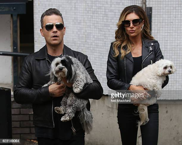 Robbie Williams and wife Ayda Field seen leaving the ITV Studios after appearing on Loose Women on November 14 2016 in London England