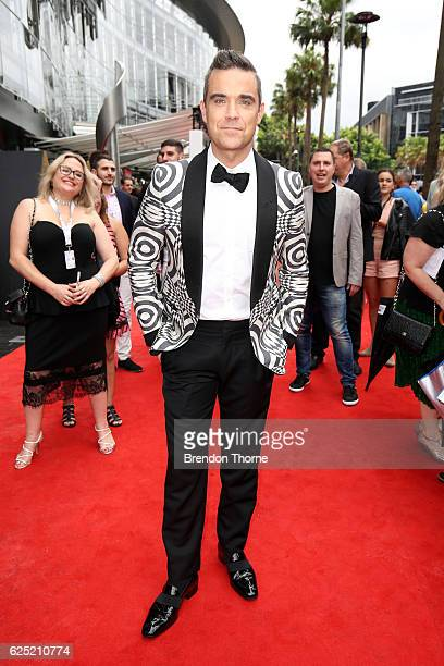 Robbie Williams arrives for the 30th Annual ARIA Awards 2016 at The Star on November 23 2016 in Sydney Australia