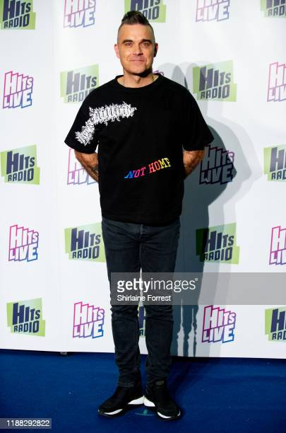 Robbie Williams attends Hits Radio Live 2019 at Manchester Arena on November 17 2019 in Manchester England