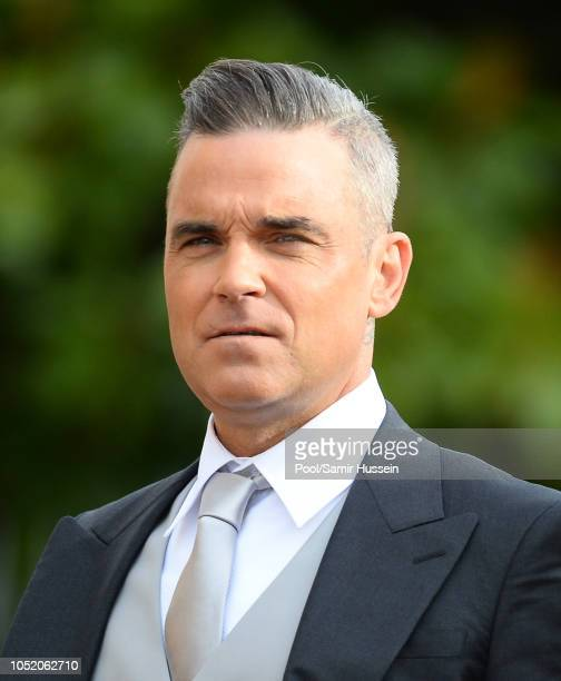 Robbie Williams attends the wedding of Princess Eugenie of York and Jack Brooksbank at St George's Chapel in Windsor Castle on October 12 2018 in...