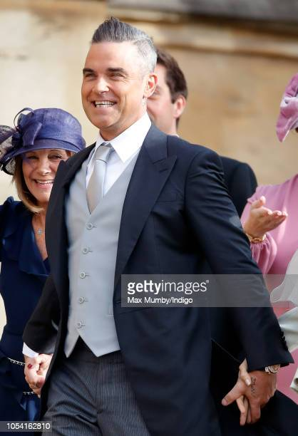 Robbie Williams attends the wedding of Princess Eugenie of York and Jack Brooksbank at St George's Chapel on October 12, 2018 in Windsor, England.