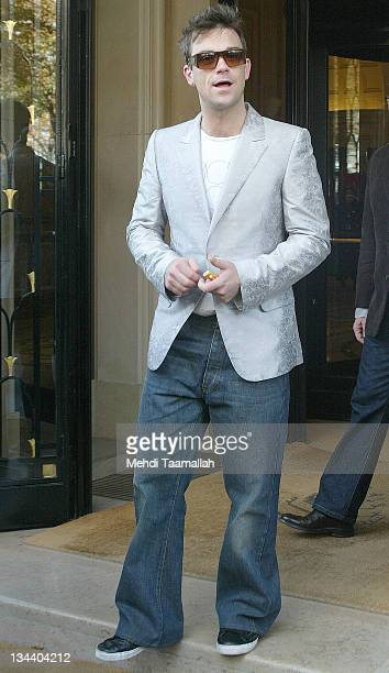 Robbie Williams during Robbie Williams Sighting at the Hotel George V in Paris - October 18, 2005 at Hotel George V in Paris, France.