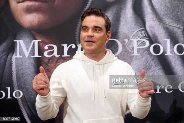 Robbie Williams during the launch of the Marc O'Polo 50th anniversary special edition sweatshirt on July 6 2017 in Munich Germany