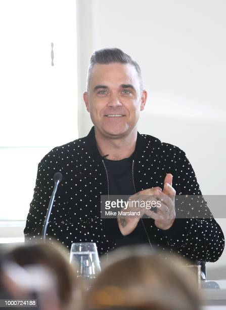 Robbie Williams during The X Factor 2018 launch at Somerset House on July 17 2018 in London England