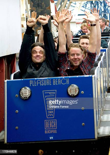 Robbie Williams enjoys the Rides at Blackpool Pleasure Beach on June 20 2013 in Blackpool England