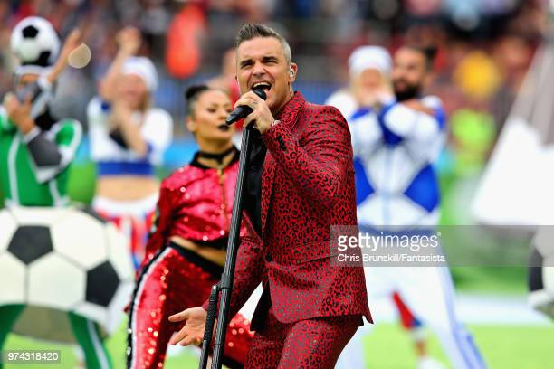 Robbie Williams entertains the crowd in the opening ceremony before the 2018 FIFA World Cup Russia group A match between Russia and Saudi Arabia at...