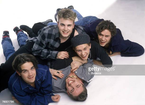 Robbie Williams Gary Barlow Howard Donald Mark Owen and Jason Orange of Take That
