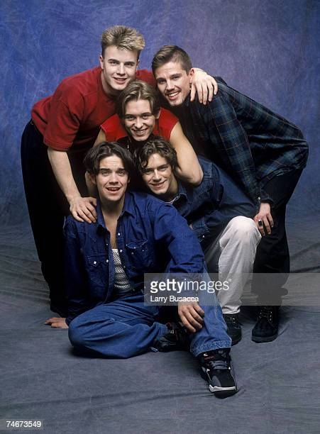 Robbie Williams Gary Barlow Mark Owen Jason Orange and Howard Donald of Take That at the Studio Session in New York City New York