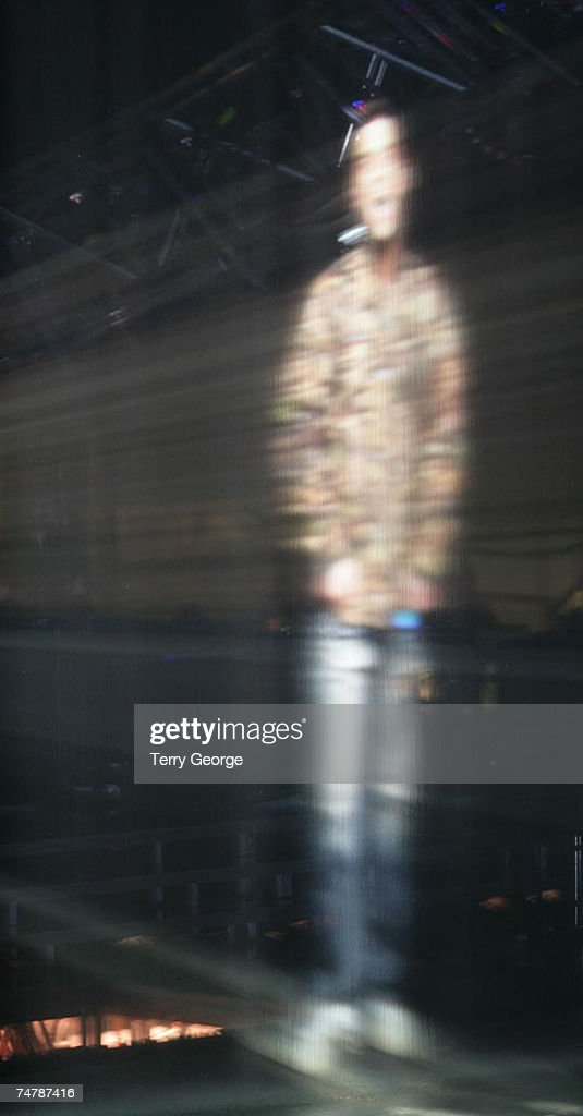 Robbie Williams hologram on stage at the Metro Centre in Newcastle, United Kingdom.