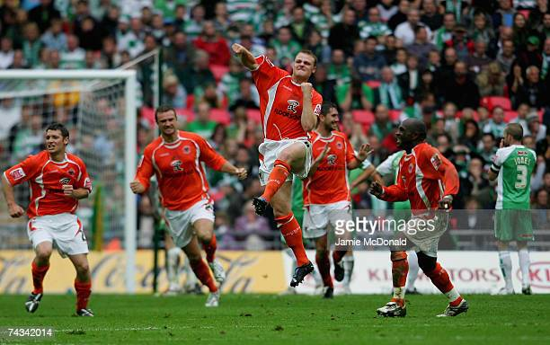 Robbie Williams of Blackpool celebrates his goal with team mates during the League 1 Playoff Final between Blackpool and Yeovil Town at Wembley...