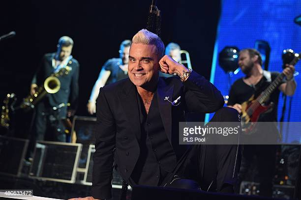 Robbie Williams performs onstage the Second Day of the 10th Anniversary on the Throne Celebrations on July 12 2015 in Monaco Monaco