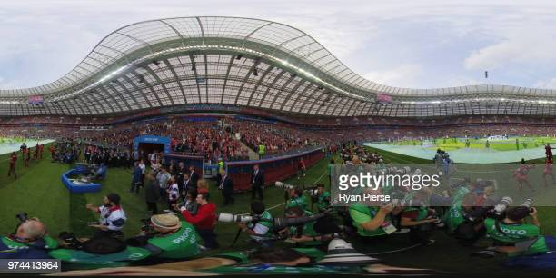 Robbie Williams performs prior to the 2018 FIFA World Cup Russia Group A match between Russia and Saudi Arabia at Luzhniki Stadium on June 14 2018 in...