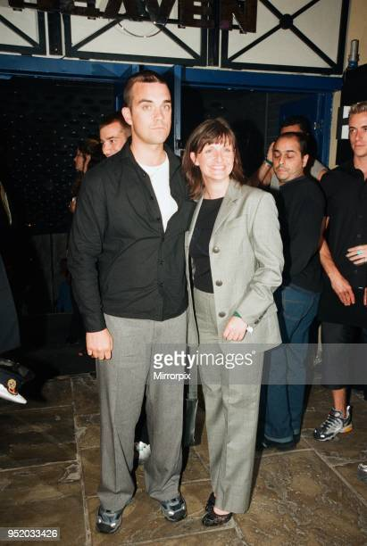 Robbie Williams sister Sally Symonds pictured together at Heaven nightclub in London 30th July 1998