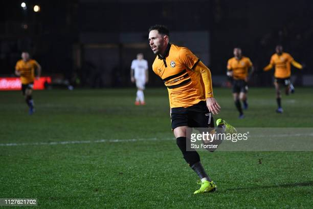 Robbie Willmott of Newport County celebrates after he scores his sides first goal during the FA Cup Fourth Round Replay match between Newport County...