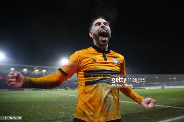 Robbie Willmott of Newport County celebrates victory during the FA Cup Fourth Round Replay match between Newport County AFC and Middlesbrough at...