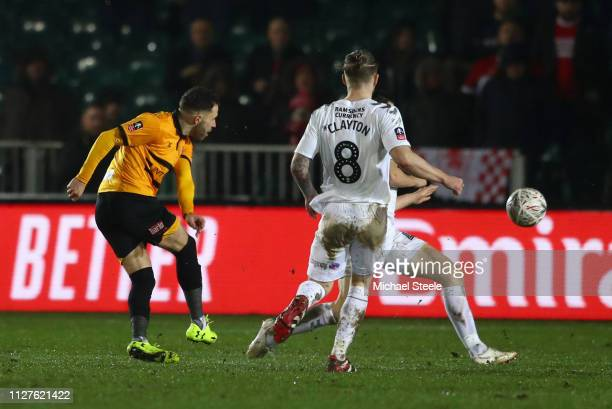 Robbie Willmott of Newport County scores his sides first goal during the FA Cup Fourth Round Replay match between Newport County AFC and...