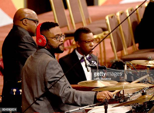 Robbie Yancy performs at a Celebration Of Natalie Cole's Life at the West Angeles Church of God in Christ on January 11 2016 in Los Angeles California