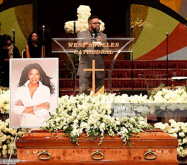 Robbie Yancy speaks at a Celebration Of Natalie Cole's Life at the West Angeles Church of God in Christ on January 11 2016 in Los Angeles California