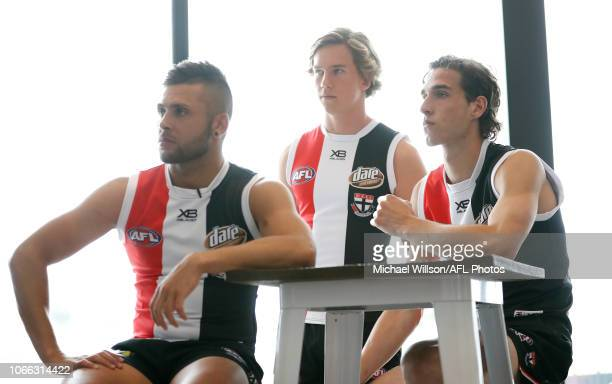 Robbie Young Jack Bytel and Max King of the Saints look on during a St Kilda Saints AFL training session at RSEA Park on November 29 2018 in...