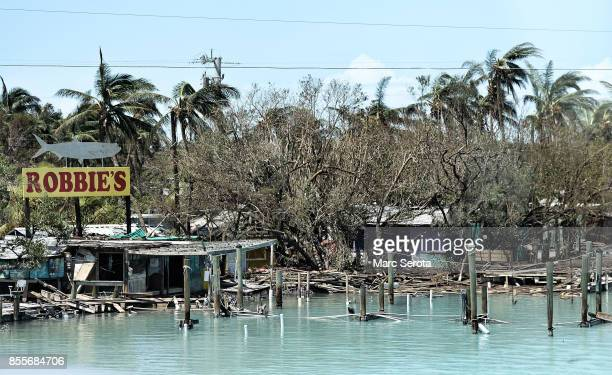 Robbie's Home of the Giant Tarpon and a landmark of the Florida Keys is left severely damaged following powerful Hurricane Irma on September 12 2017...