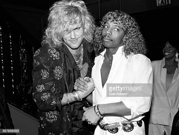 Robbin Crosby of Ratt and Rick James at the MTV Video Music Awards party at the Palladium in New York City on September 13 1985