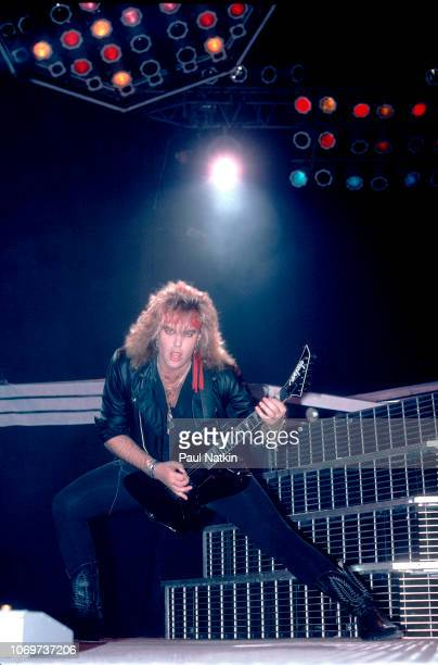 Robbin Crosby of Ratt performs on stage at the Rosemont Horizon in Rosemont Illinois December 30 1986