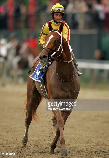 Robby Albarado rides Curlin after the 139th Belmont Stakes June 9 2007 at Belmont Park in Elmont New York Curlin would Place in the event