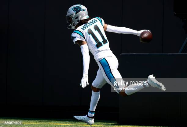 Robby Anderson of the Carolina Panthers celebrates after scoring a 57-yard touchdown during the second quarter against the New York Jets at Bank of...