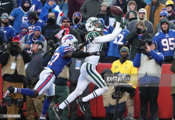 Robby Anderson of the New York Jets cannot hang on to a pass in the end zone in the fourth quarter during NFL game action against the Buffalo Bills...