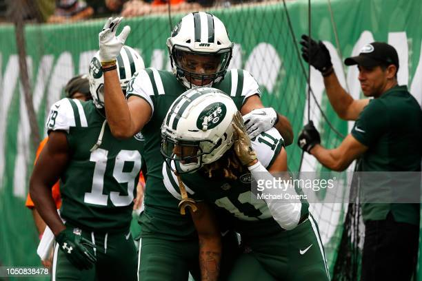 Robby Anderson of the New York Jets celebrates after scoring a 78 yard touchdown against the Denver Broncos during the second quarter in the game at...