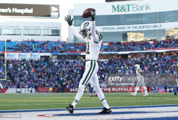 Robby Anderson of the New York Jets celebrates after scoring a touchdown in the fourth quarter during NFL game action against the Buffalo Bills at...