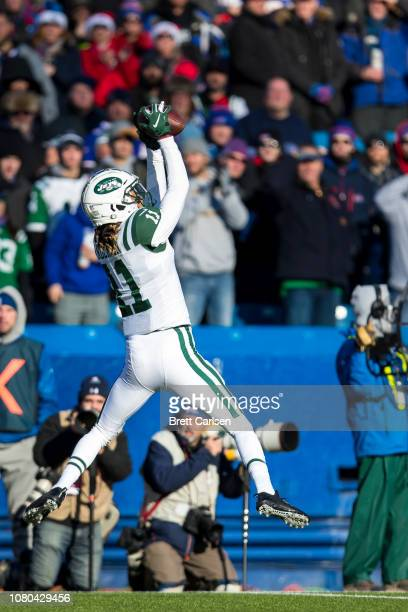 Robby Anderson of the New York Jets makes a leaping first down reception during the second quarter against the Buffalo Bills at New Era Field on...