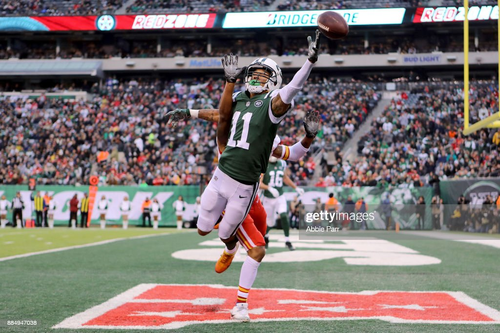 Robby Anderson #11 of the New York Jets reaches for what would be an incomplete pass in the fourth quarter against the Kansas City Chiefs during their game at MetLife Stadium on December 3, 2017 in East Rutherford, New Jersey.
