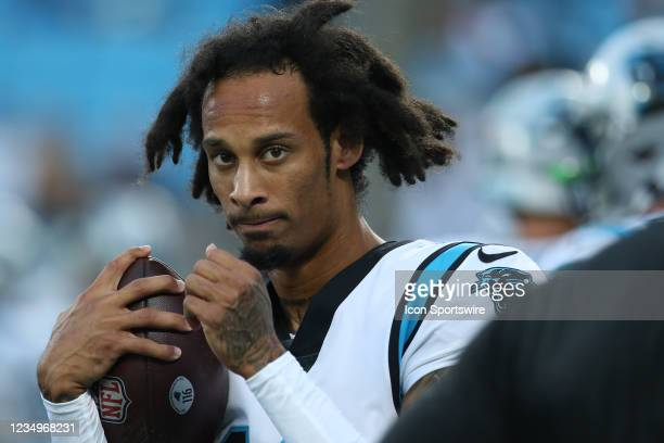 Robby Anderson wide receiver of the Panthers during a NFL football game between the Pittsburg Steelers and the Carolina Panthers on August 27, 2021...