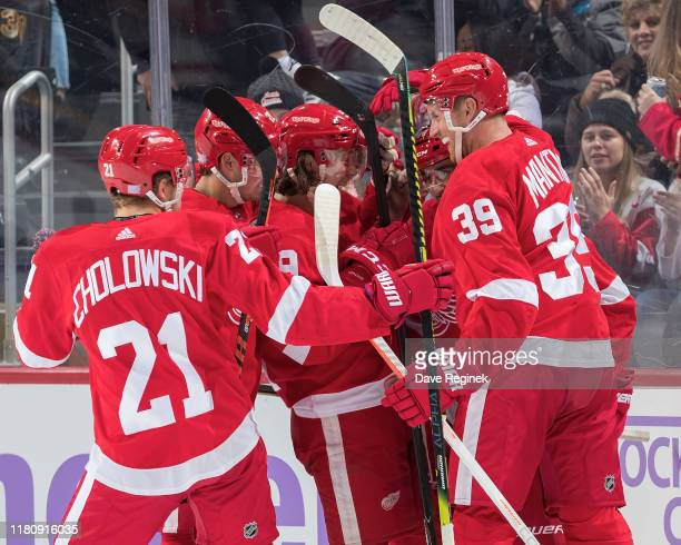 Robby Fabbri of the Detroit Red Wings celebrates his first goal as a Wing with teammates Dylan Larkin, Dennis Cholowski, Anthony Mantha and Tyler...