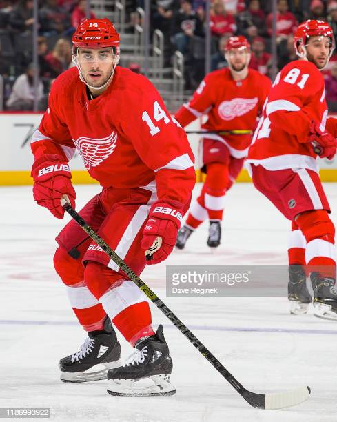 Robby Fabbri of the Detroit Red Wings follows the play against the Vegas Golden Knights during an NHL game at Little Caesars Arena on November 10...