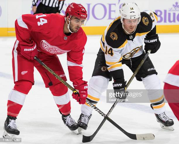 Robby Fabbri of the Detroit Red Wings lines up for a the face off with Chris Wagner of the Boston Bruins during an NHL game at Little Caesars Arena...