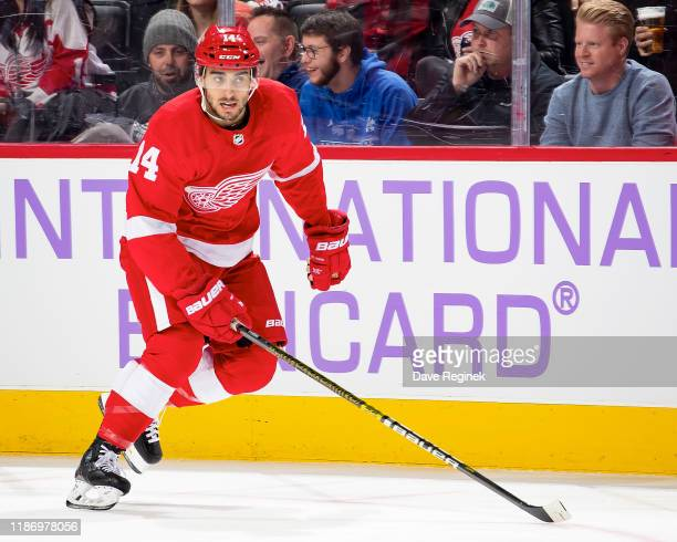 Robby Fabbri of the Detroit Red Wings skates up ice against the Boston Bruins during an NHL game at Little Caesars Arena on November 8 2019 in...