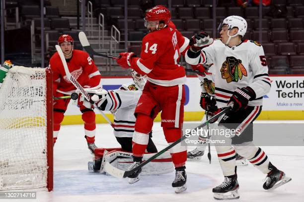 Robby Fabbri of the Detroit Red Wings tries to hit the puck out of mid air along with Kevin Lankinen of the Chicago Blackhawks during the second...