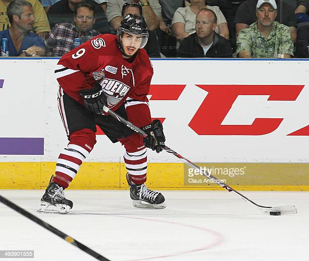 Robby Fabbri of the Guelph Storm gets set to make a pass against the Edmonton Oil Kings in the final of the 2014 MasterCard Memorial Cup at Budweiser...