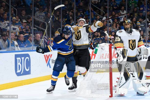 Robby Fabbri of the St Louis Blues and Shea Theodore of the Vegas Golden Knights battle at Enterprise Center on November 1 2018 in St Louis Missouri