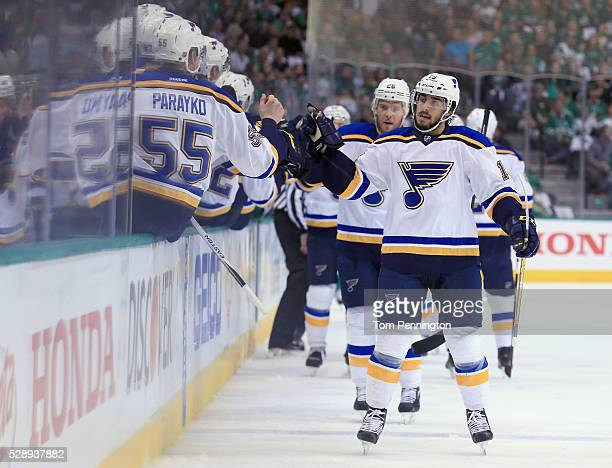 Robby Fabbri of the St Louis Blues celebrates after scoring a goal against the Dallas Stars in the first period in Game Five of the Western...