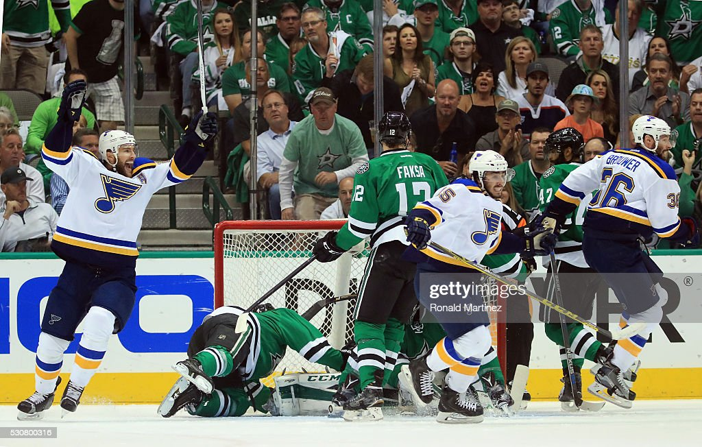 Robby Fabbri #15 of the St. Louis Blues celebrates his goal against the Dallas Stars in the first period in Game Seven of the Western Conference Second Round during the 2016 NHL Stanley Cup Playoffs at American Airlines Center on May 11, 2016 in Dallas, Texas.