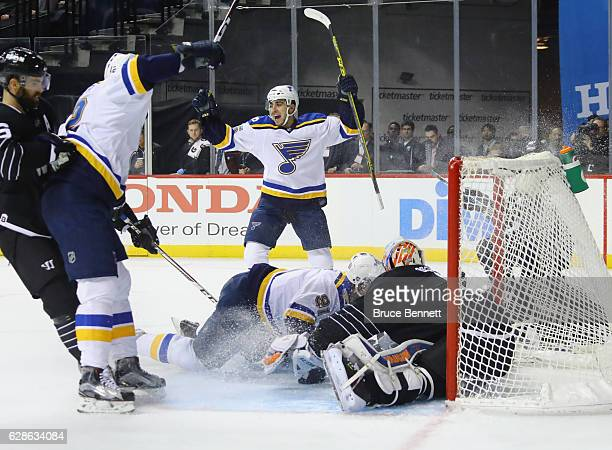 Robby Fabbri of the St Louis Blues celebrates his goal at 436 of the first period against the New York Islanders as Vladimir Tarasenko crashes into...