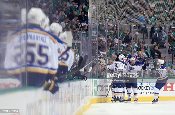Robby Fabbri of the St Louis Blues celebrates with Joel Edmundson of the St Louis Blues and Kevin Shattenkirk of the St Louis Blues after scoring...