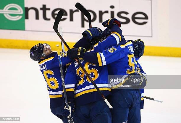 Robby Fabbri of the St Louis Blues celebrates with teammates after scoring a second period goal against the San Jose Sharks in Game Five of the...