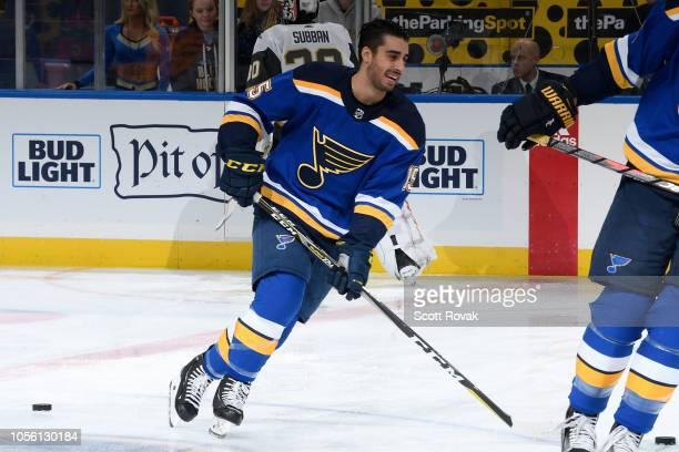 Robby Fabbri of the St Louis Blues during warmups against the Vegas Golden Knights at Enterprise Center on November 1 2018 in St Louis Missouri