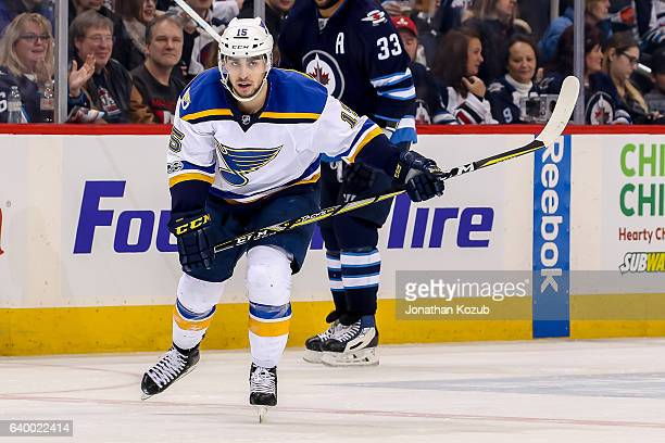 Robby Fabbri of the St Louis Blues follows the play down the ice during second period action against the Winnipeg Jets at the MTS Centre on January...